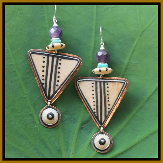 Tabra Tribal Pattern on Bone Earrings  by TabraInternational, $114.00