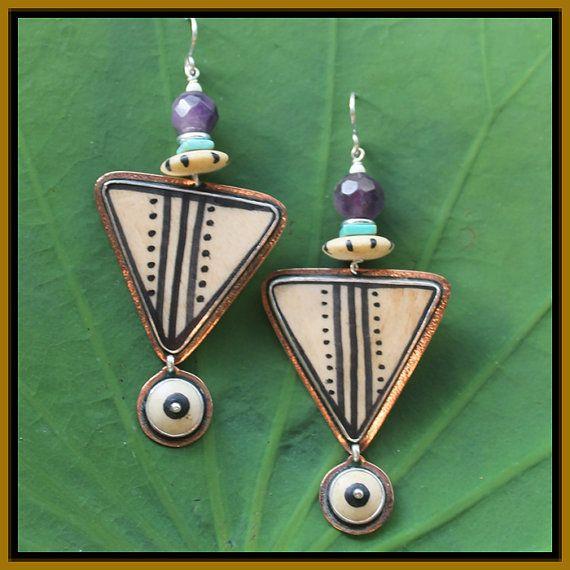 Tabra Tribal Pattern on Bone Earrings  by TabraInternational, $114.00