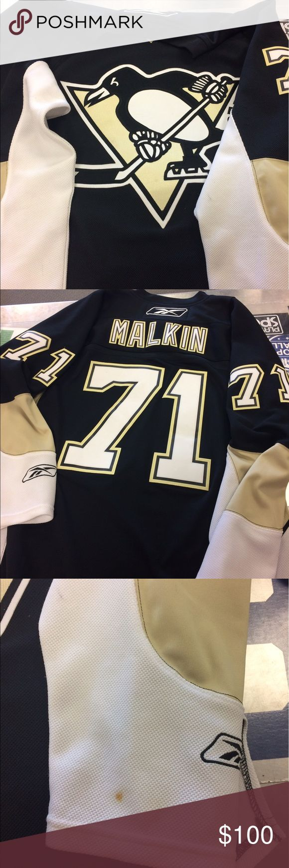 Evgeni Malkin Pittsburgh penguins hockey jersey Size large evgeni malkin Pittsburgh penguins hockey jersey. This an officially licensed reebok NHL hockey jersey. Retails around $200. Open to offers and trades!!! Reebok Shirts Tees - Long Sleeve