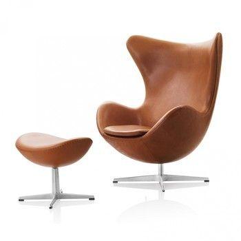 Fritz Hansen - Egg Chair / Das Ei Loungesessel Leder - walnuss/Gestell aluminium/Leder Elegance