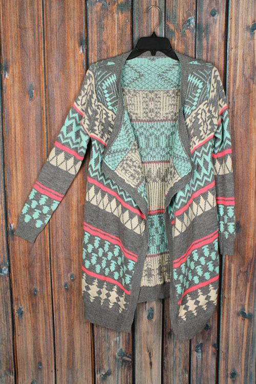 Fabulous gray & mint aztec tribal print cardigan. This cardigan is one of our best sellers! Gorgeous all over print; mid-weight cardigan. Fits true to size (small/medium fits sizes 2-6, medium/large f