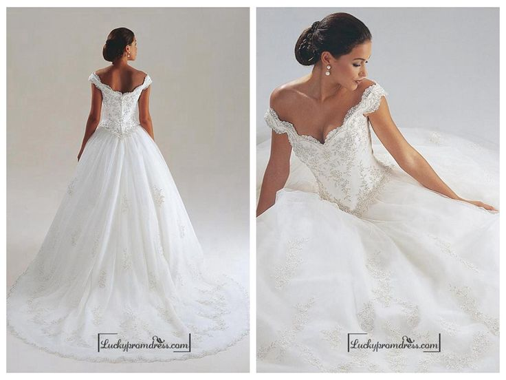 BEAUTIFUL SATIN OFF-THE-SHOULDER WEDDING DRESS