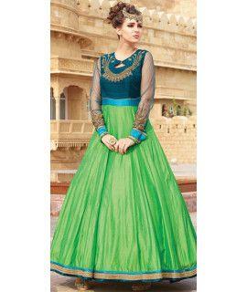 Superior Green Silk Designer Gown.