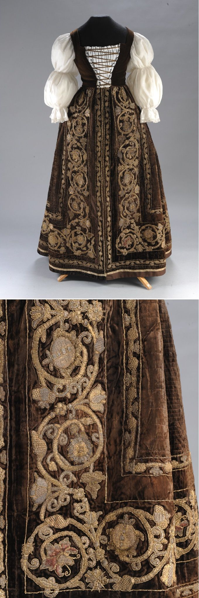 From the wardrobe of Orsolya Dersffy, ca. 1610, Hungary, Italy, cut-pile velvet, raised embroidery of gilt silver thread; embroidered in silk thread