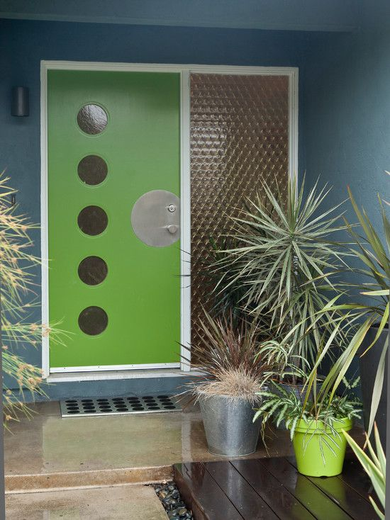Mid Century Modern Front Doors: Modern Exterior Colorful Mid Century Modern Residence Original Grade Door Had The Circles Cut And Glass Inserted And The Custom Metal Plate