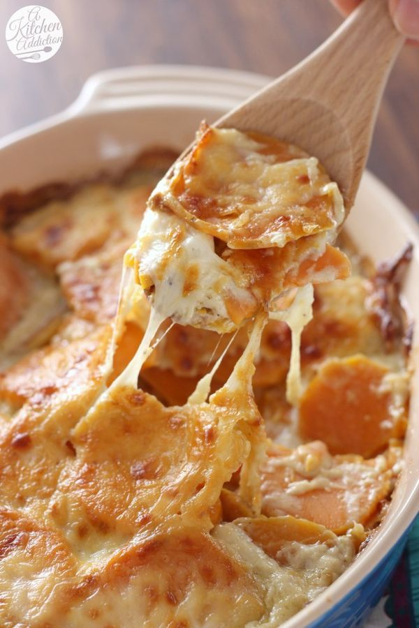 Easy Cheesy Scalloped Sweet Potatoes Side Dish from A Kitchen Addiction