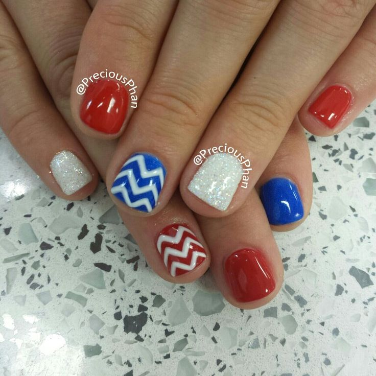red white and blue chevron nails