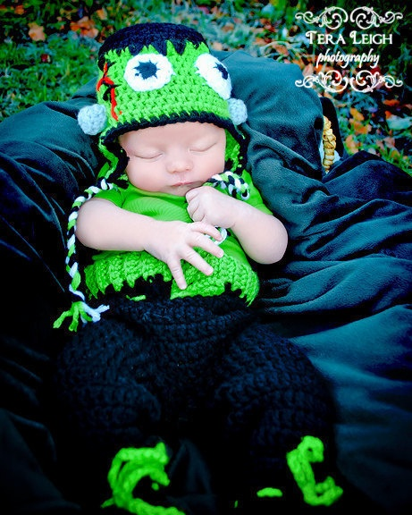 Baby Frankenstein Costume Set Hat Pants Booties - Crochet Winter Outfit Newborn Beanie Boy Girl Costume Halloween Thanksgiving Photo Prop. $45.99, via Etsy.