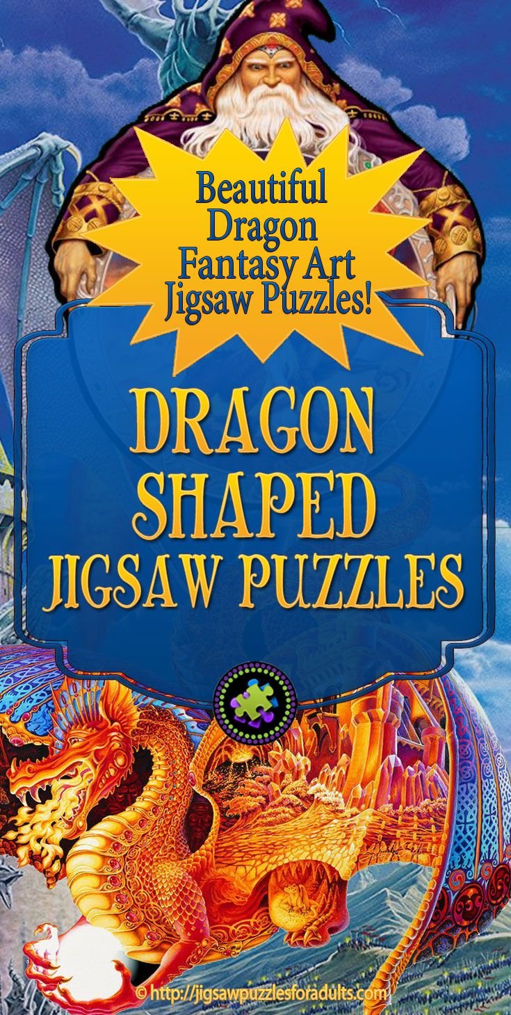 If you're looking for dragon Shaped Jigsaw Puzzles, you'll find some really cool unique shaped jigsaw puzzles with dragons and wizards. Makes an ideal gift for dragon fantasy art fans!