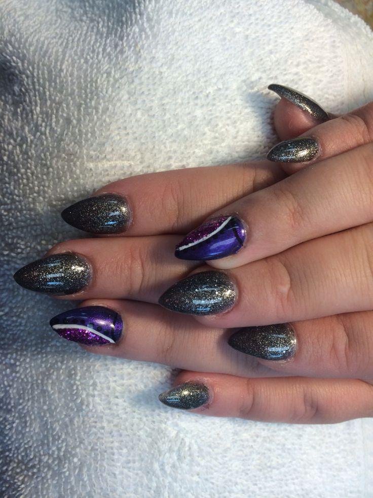 Pointy acrylic nail full-set with designs. #Nail #art #cool #fun