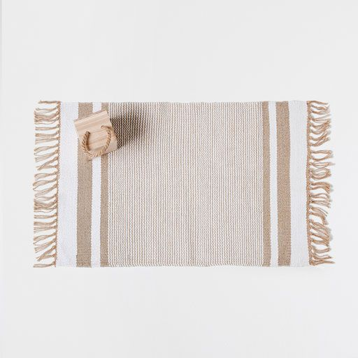 Image of the product Golden striped cotton rug
