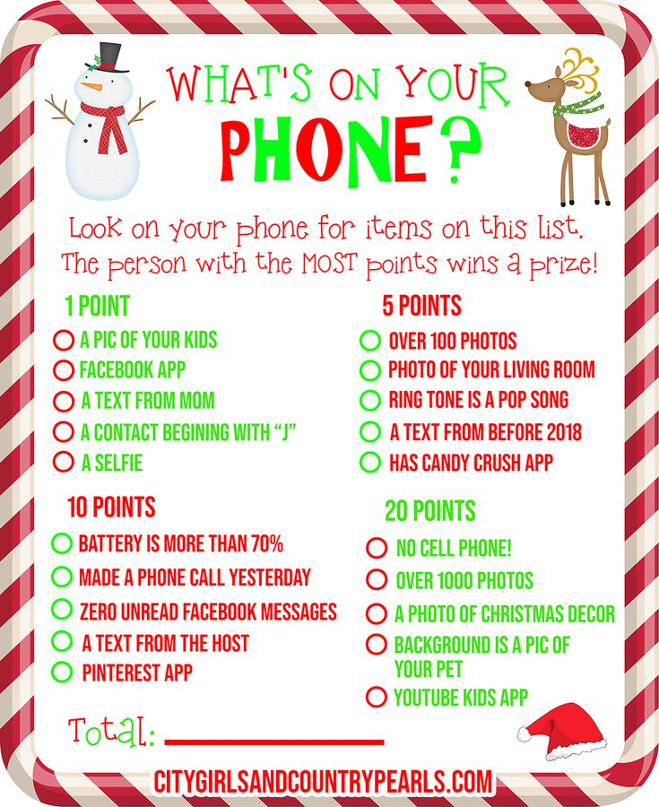 What's On Your Phone Christmas Party Game + FREE PRINTABLE