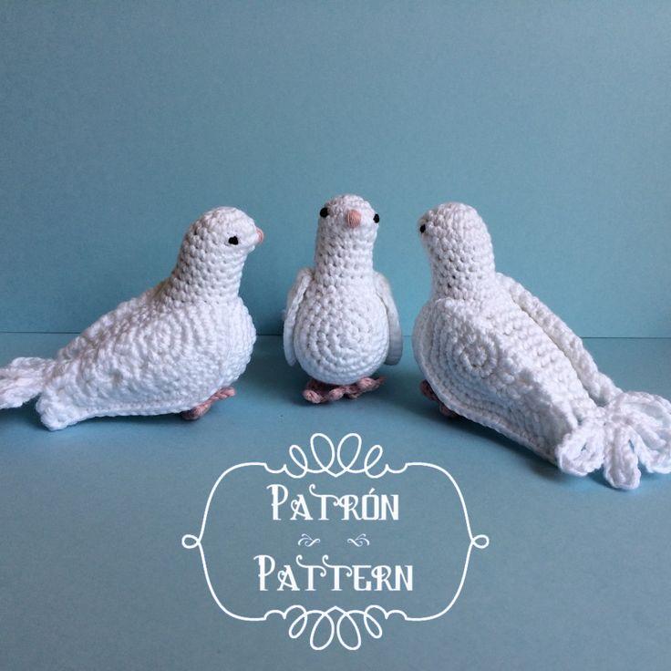 Con este patrón podrás tejer una preciosa paloma blanca.