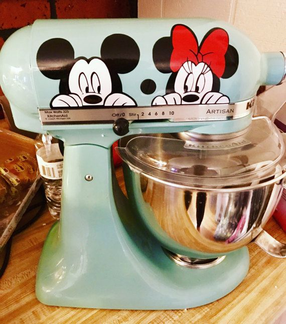 Disneys Mickey & Minnie {inspired} Kitchen Aid Mixer Decals Our decals are cut from the highest quality vinyl that made to withstand normal cleaning and wear and tear. These are decals, not clings, so theyre not able to be taken up and moved from one place to another. This listing is for one decal. The Decal measures approximately 7.5 x 3.15. Shipping: Your needs are important to us and we want to get your product to you as quickly as possible. With that being said, everything is handmade...