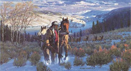 Artwork with cowboys and elk google search hunting art for Gary carter vet