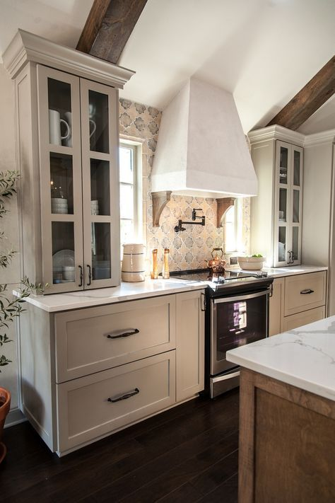I Like The Way The Cabinetry And The Cooktop, Hood, And Backsplash All Came  Together In This. I Love The Cabinets That Sit On The Countertop. Different  ...