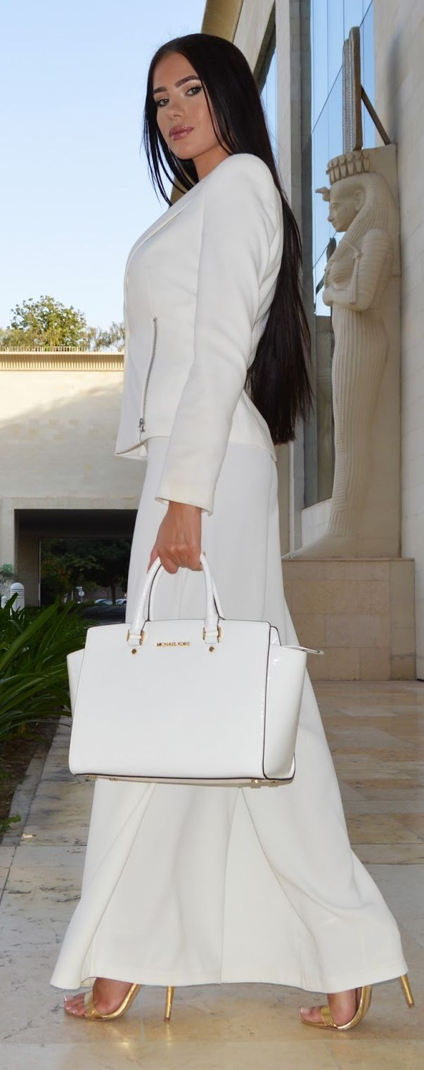 Total White Outfit Idea women fashion outfit clothing style apparel @roressclothes closet ideas: