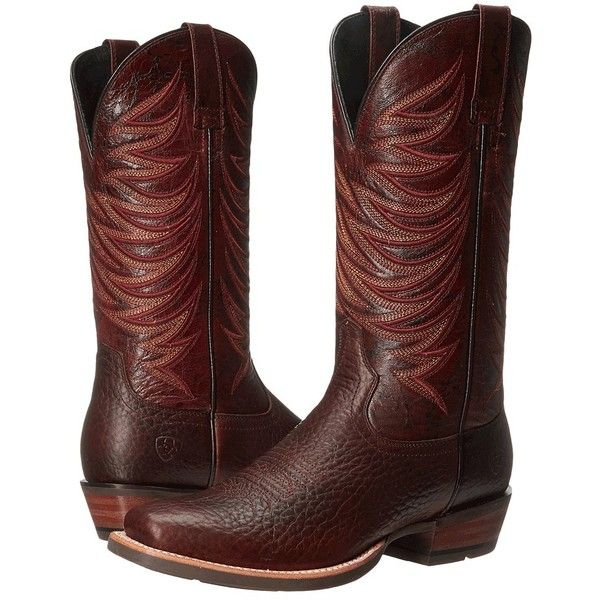 Ariat Crosswire (Dapple Bay/Blood Bay Appy) Cowboy Boots ($220) ❤ liked on Polyvore featuring men's fashion, men's shoes, men's boots, mens leather cowboy boots, ariat mens shoes, mens wide shoes, mens western cowboy boots and mens leather shoes