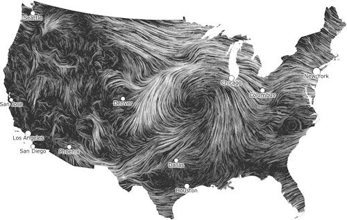Wind Map: Living portraits of wind currents over the US ( click on LIVE REAL TIME map)  / Fernanda Viegas & Martin Wattenberg