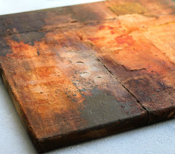 African painting rust Abstract impasto original painting