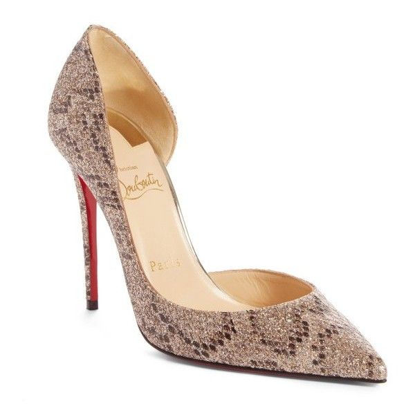 Women's Christian Louboutin Iriza Pointy Toe Pump (9.312.995 IDR) ❤ liked on Polyvore featuring shoes, pumps, beige glitter, beige pointed toe pumps, pointed toe stilettos, pointed-toe pumps, red sole pumps and d'orsay pumps