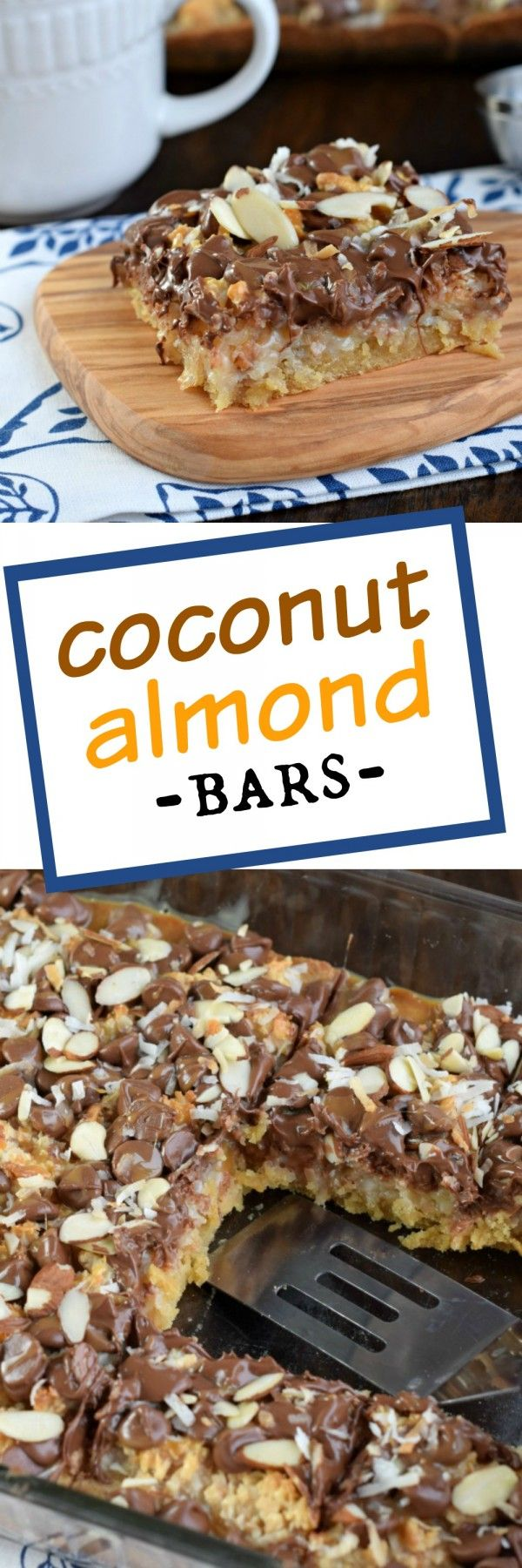 These Coconut Almond Bars are a delightful homemade candy bar recipe filled with toasted coconut and topped with chocolate, caramel, and crunchy almonds!