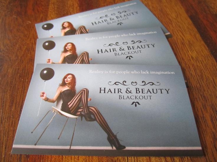 Business card for hair salon. www.blackouthair.fi