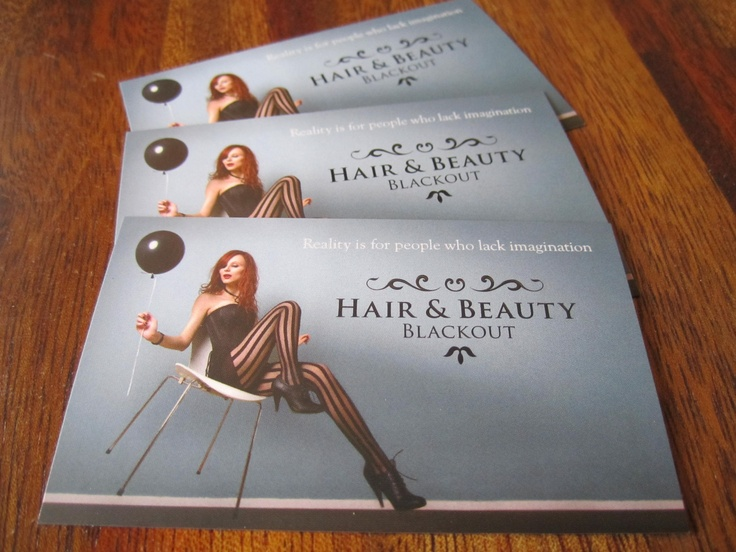 Business card for hair salon. www.blackouthair.fi