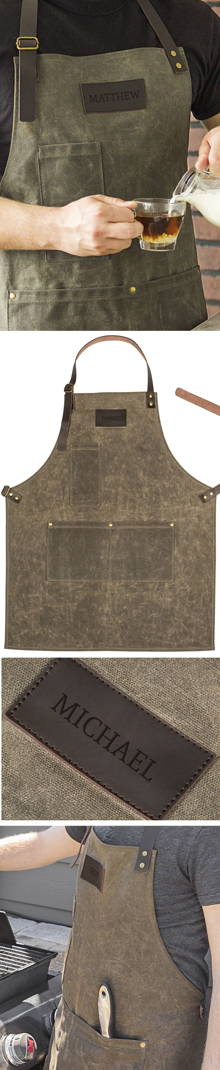 A trendy waxed canvas apron personalized with his or her name is a unique appreciation gift for anyone who works in the service industry including coffee shops, cafes, bistros, hair salons, and restaurants.