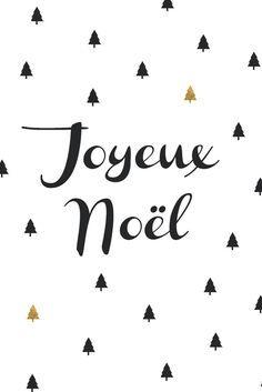 Carte Joyeux Noël sapin noir et dorés Hello Nobo