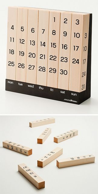 Million Year Calendar by { designvagabond }, The minimal Million Year Calendar is usable forever, simply by rotating each vertical post. No yearly waste or cheesy nature photographs. Wonderful!