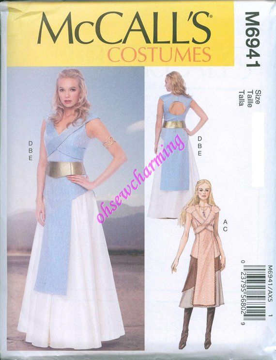 This is a beautiful costume sewing pattern designed by