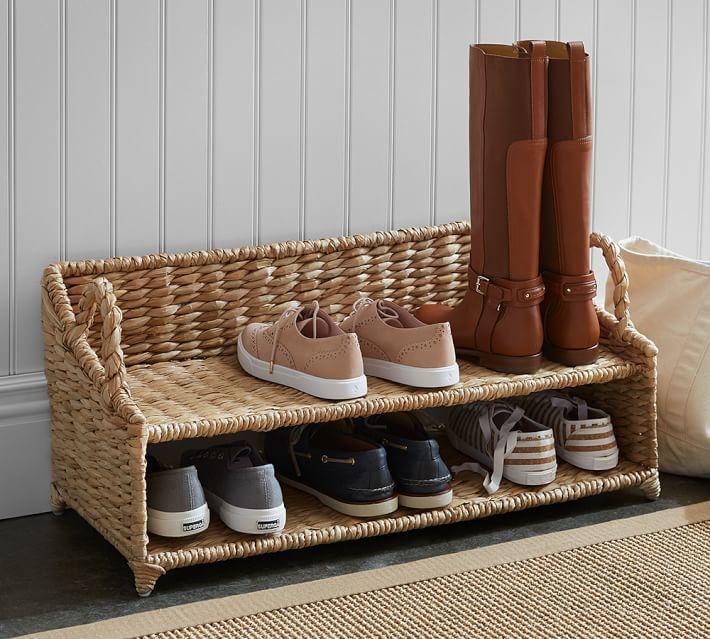 pottery barn seagrass shoe rack