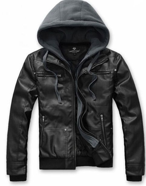 790792022bf86 Fashion Slim Fit Hooded Pu Leather Motorcycle Biker Zip Jacket Men s Coat  Bomber