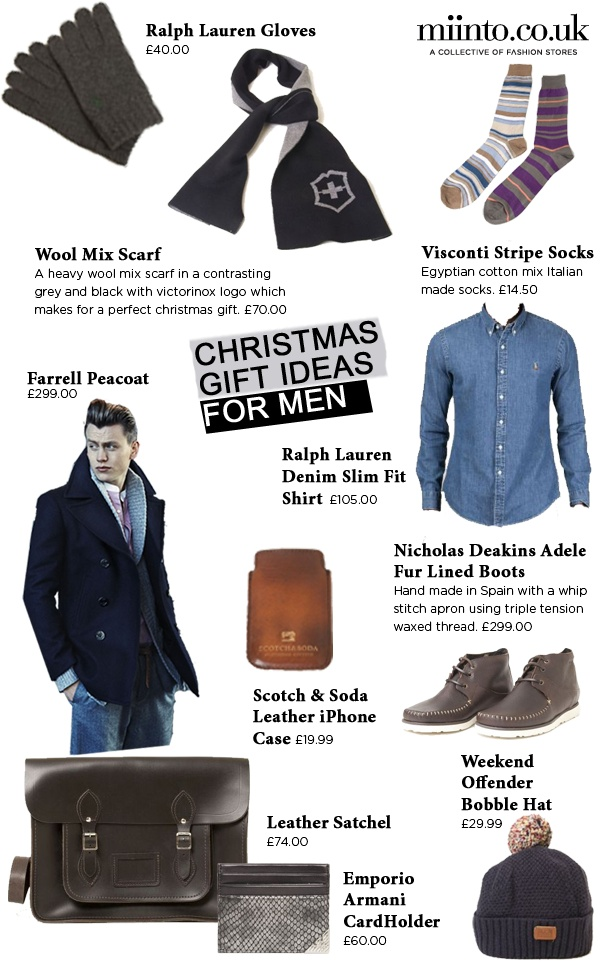 Christmas Gift Ideas for Men. Wondering what to buy your boyfriend, husband or brother this Christmas? Here's some ideas from Miinto.co.uk. Click to see details.