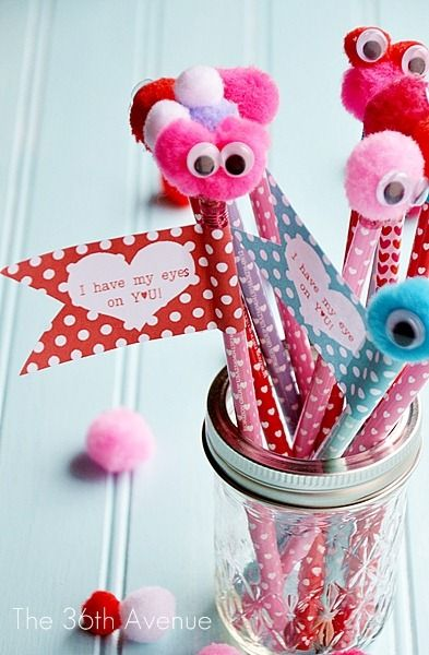 Valentine Monster Pencils and Free Printable. ADORABLE!