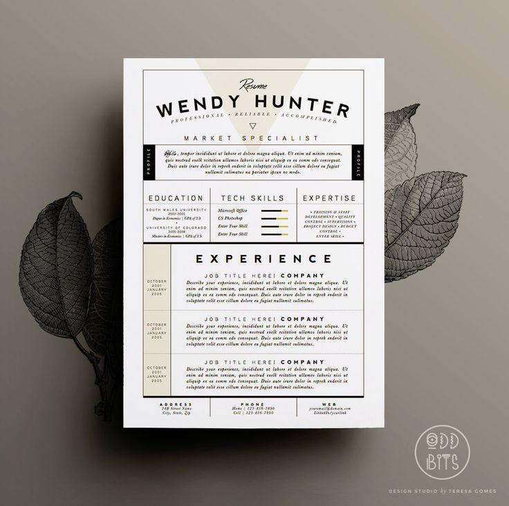 Resume Template / CV Template  Cover Letter for by OddBitsStudio, $18.80