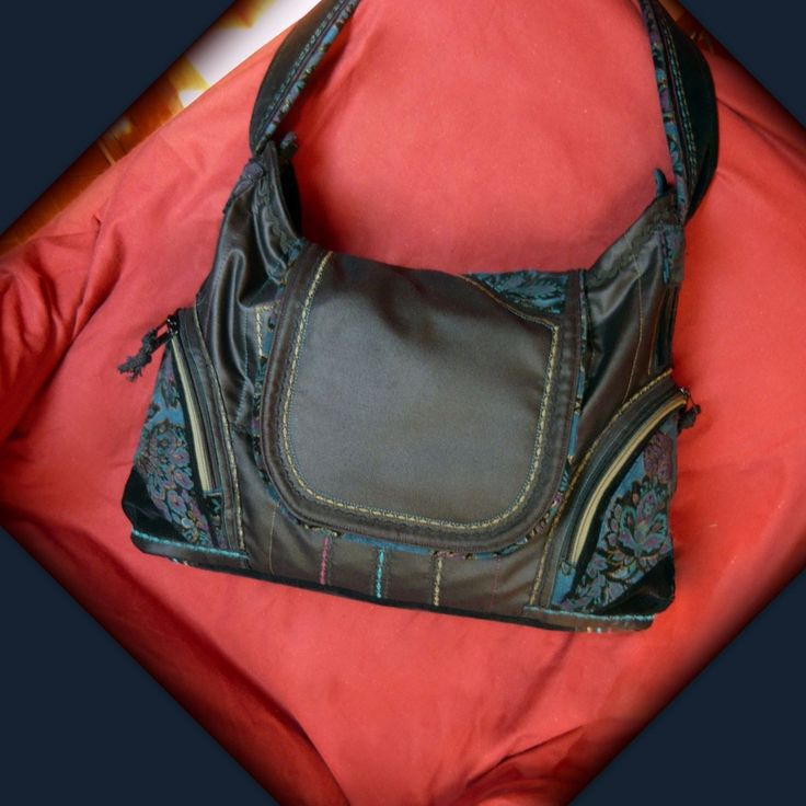 Handmade by Judy Majoros -Black hobo bag-Recycled bag