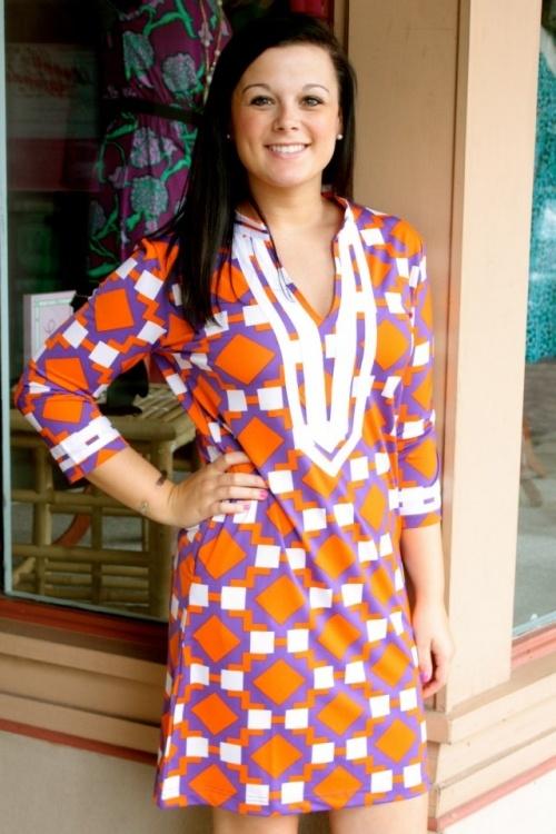 tracy negoshian rita tunic dress purple orange my style pinterest clemson tigers tunics. Black Bedroom Furniture Sets. Home Design Ideas