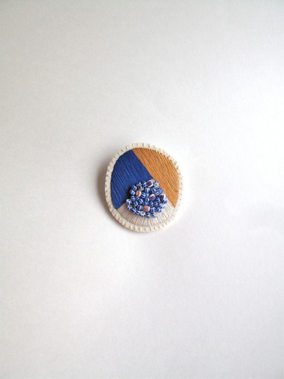 Hand embroidered jewelry geometric brooch tan, blue and cream with blue and…
