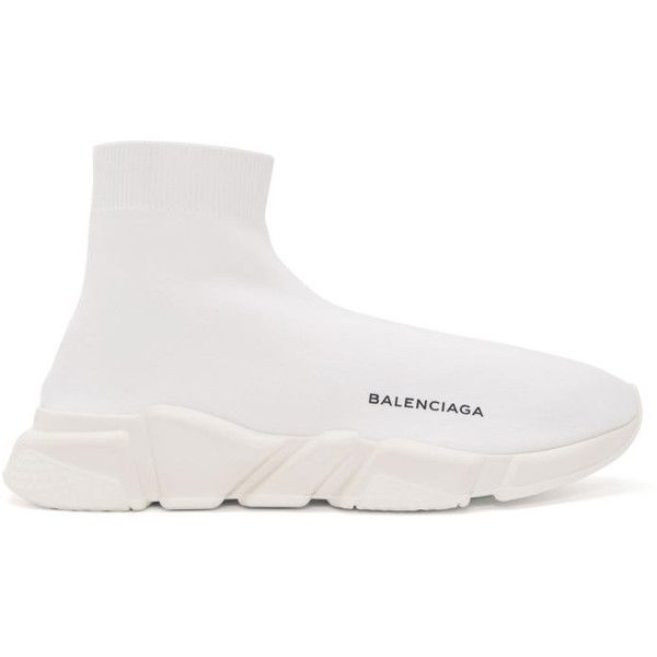 Balenciaga White Sock High-Top Sneakers ($695) ❤ liked on Polyvore featuring men's fashion, men's shoes, men's sneakers, white, mens rubber sole shoes, mens white shoes, balenciaga mens shoes, mens high top shoes and balenciaga mens sneakers