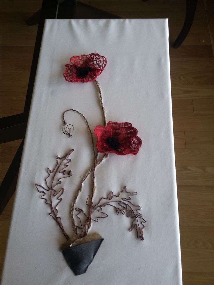 bobbin lace poppies by Cheryl ford