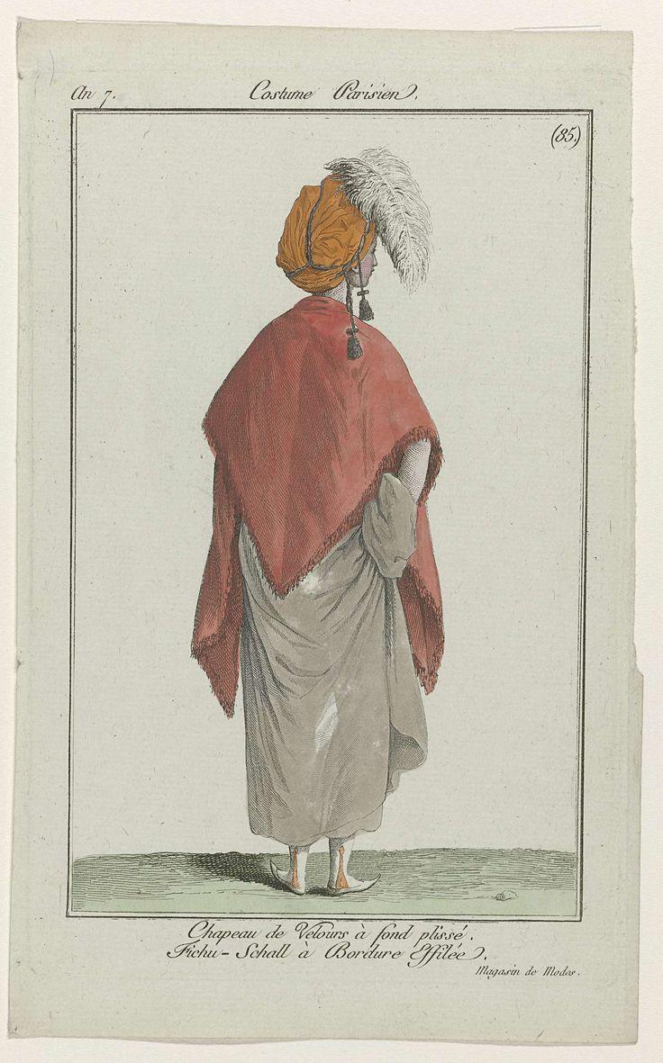 Journal des Dames et des Modes, Costume Parisien, 19 janvier 1799, An 7 (85) : Chapeau de velours..., Anonymous, 1799