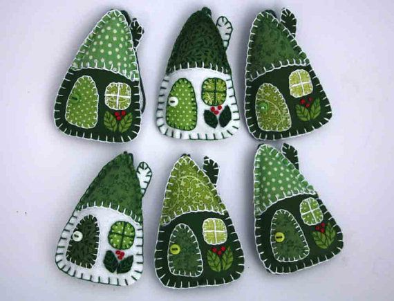 Felt Christmas ornaments, 3 House decorations, Green and white patchwork houses, Holiday decor.