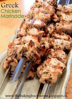 SO GOOD! Greek Chicken Marinade - made these on skewers with red onion and zucchini (would be great with red pepper also but hubby doesn't like it) definite repeat!
