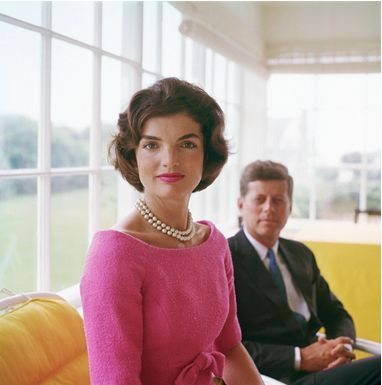 Jackie O. Sun Room Yellow.    An unexpected splash of yellow at The Kennedy's Hyannis Port home.
