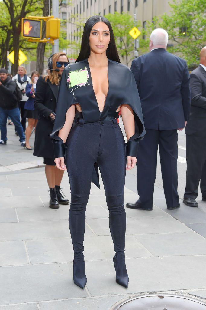 f5d6a4fe780 Kim Kardashian Rocks a Gucci Pantsuit Without a Top in L.A.