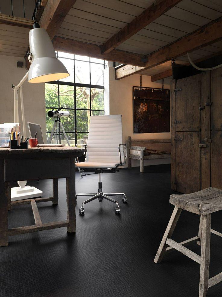 Black croco linoleum flooring -- Curated by: Modern Paint & Floors | 102-1875 Spall Rd Kelowna (BC) V1Y 4R2 | 250 860 2444