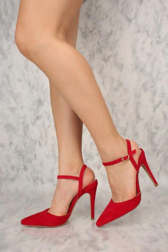 12298a5f81b Sexy Red Pointy Toe Ankle Strap Single Sole High Heels #Promheels ...