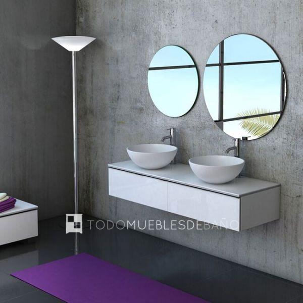 mueble duo blanco alto brillo tapa de lavabos cerdea espejos redondos